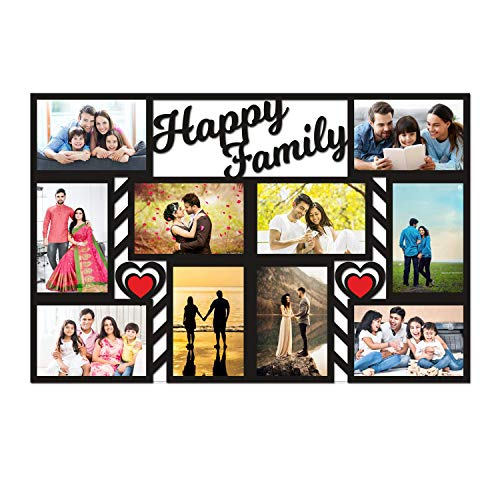 Aj Enterprise Wood Family 10 Customized Photo Frame with Name Collage (Multicolor, 12 x 18 inch)
