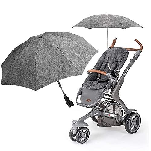 Komake Sombrilla para cochecito y silla de paseo, sombrilla universal para cochecito de bebé, protección solar, soporte universal para tubos redondos y ovalados, color gris