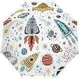 Cartoon Rocket Planet Star Comet UFO Auto Open Umbrella Sun Rain Umbrella Anti UV Folding Compact Automatic Paraguas