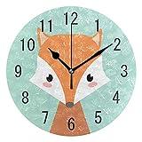 [page_title]-Use7 Wanduhr, rund, Acryl, Motiv: Fuchs im Winter, nicht tickend, geräuschlose Uhr, Kunst für Wohnzimmer, Küche, Schlafzimmer