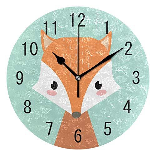 Use7 Wanduhr, rund, Acryl, Motiv: Fuchs im Winter, nicht tickend, geräuschlose Uhr, Kunst für Wohnzimmer, Küche, Schlafzimmer