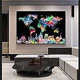 KWzEQ Carteles e Impresiones artísticos Coloridos del Mapa del Mundo en Lienzo Abstracto para la decoración de la Sala de Estar,60X90cm,Pintura sin Marco