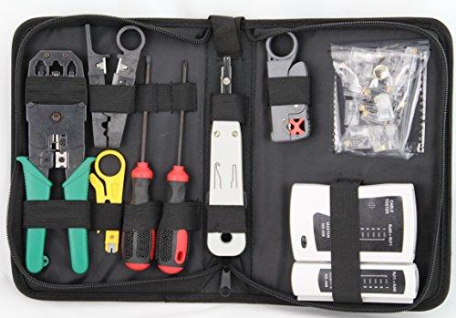 profitec NWS 200 Netzwerk-Werkzeug-Set 8-teilig im Etui (Set aus Kabeltester, 3X Abisolierwerkzeuge, LSA Auflegewerkzeug, Crimpzange, 2X Schraubendreher, 20x RJ45 Stecker und Etui)