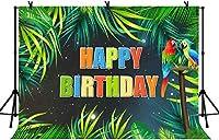 HD 7x5ftカラフルなハッピーバースデーの背景緑のヤシの木の漫画オウムの背景子供の誕生日パーティーの背景バナー装飾背景小道具LYLS815