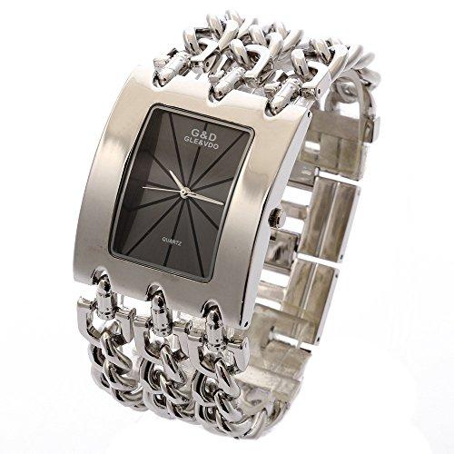 xlordx Lujo Mujeres Dama Brazalete de plata acero inoxidable cuarzo analógico reloj de muñeca negro