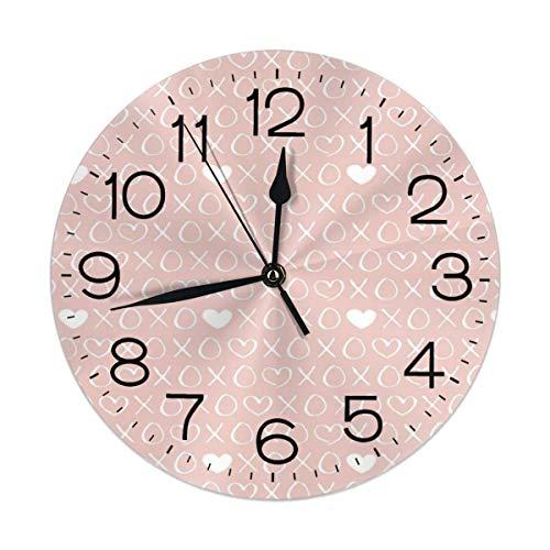 Kncsru Reloj de Pared Redondo con Estampado XOXO Love Sweet Hearts y es, silencioso, sin tictac, Funciona con Pilas para decoración del hogar, 9,88 Pulgadas