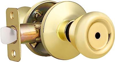 Privacy Door Knobs Door Handle Sets With Round Rosette In Polished Brass Finish For Interior Bedroom Bathroom Lockset Tulip Door Knob Shape