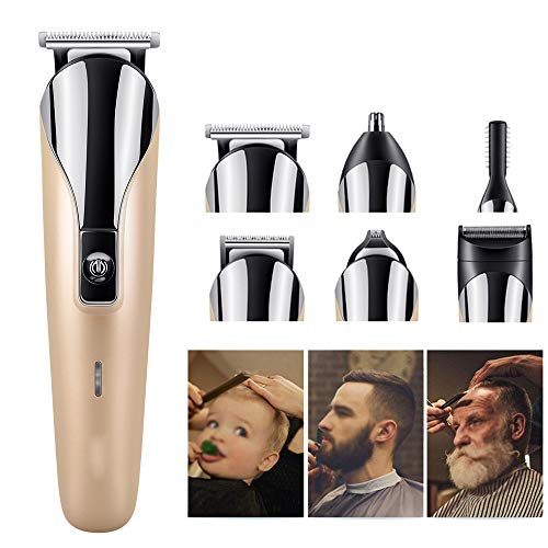 HGJDKSJ Maquina Cortapelo, 6 Tipos de Cabezales de Repuesto, para Recortar Barba, Vello de Axilas, Vello de Nariz, Vello Corporal, Peluquería, Salón, Hogar,Gold