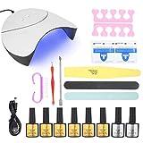 OhhGo - Juego de herramientas de manicura para uñas (36 W, luz UV), diseño de uñas