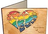 Real Wood Rainbow of Love Hearts Greeting Card for Him Boyfriend Husband Her Girlfriend Wife Lgbtq Lgbt Lgb Gay Lesbian Couple Wedding Day Engagement Anniversary Happy Birthday Get Well Wooden Gift e