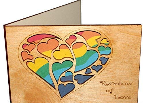 Real Wood Rainbow of Love Hearts Greeting Card for Him Boyfriend Husband Her Girlfriend Wife Lgbtq Lgbt Lgb Gay Lesbian Couple Wedding Day Anniversary Happy Birthday Get Well Thanksgiving Wooden Gift e