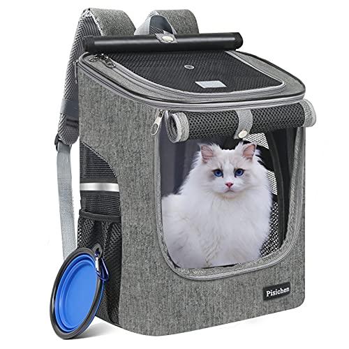 HTNZIRL Hunderucksack, Katzenrucksack für Katzen und Hunde Faltbare Haustier Welpen Rucksack Hunderucksack bis 10 kg Wandern mit Innerer Sicherheitsleine Klappbar Fressnapf