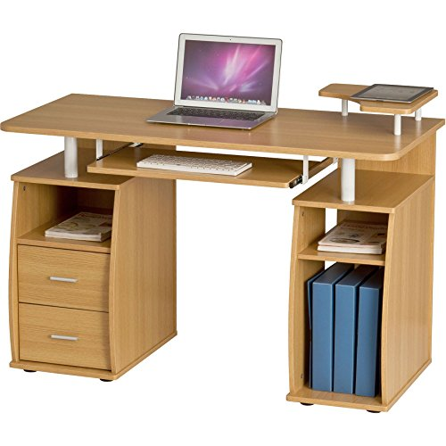 Piranha Großer Computer Schreibtisch mit 2 Schubladen und 4 Regalfächern in Eiche Bureau PC 5o