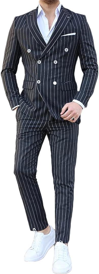 Vertical Stripe Men's Suit 2 Piece Suit Handsome Slim Double-Breasted Coat Pants