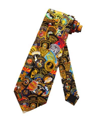 Steven Harris Mens State Trooper Badges Necktie - Multicolor - One Size Neck Tie