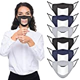 Upgraded Anti-fog 6pcs Cotton Face Covering with Clear Window- Mouth Guard Reusable Unisex Mouth Face Covers Outdoor Facial Protection Visible Expression for The Deaf and Hard of Hearing (Black,Navy &Grey)