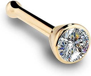 14K Yellow Gold Diamond Nose Ring with Flush Bezel Setting - 18 Gauge, I1
