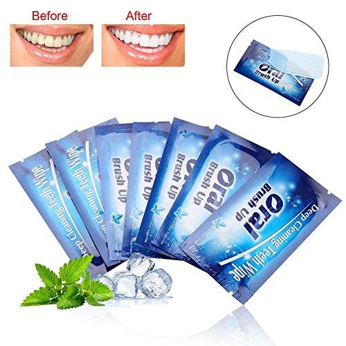 50Pcs Zahnaufhellung Streifen, Wipes Dental Clean Teeth Wischlappen Zahnreinigung Werkzeug für Oral Deep Cleaning Behandlungen für die Zahnpflege, Mint Flavour