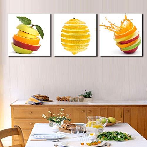 liwendi Quadro da Cucina con Frutta Dipinto su Tela Stampa Mela Verde E Arancia Moderna Decorazione Ristorante Foto 30X30Cmx3