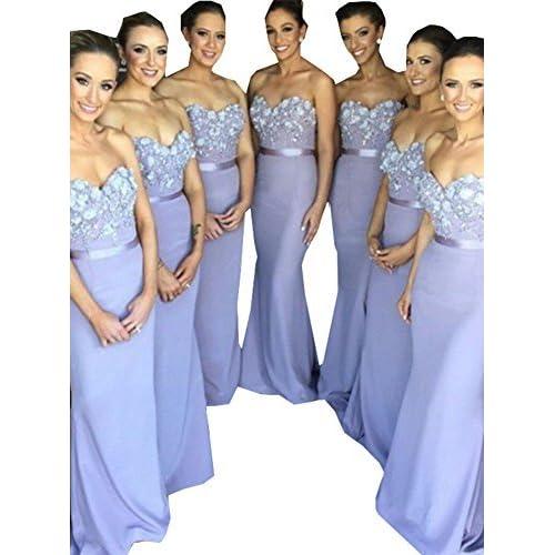 0ada80915e Half Flower Bridal Sweetheart Sleeveless Prom Gown Backless Mermaid  Bridesmaid Dress Style 6 Purple US10