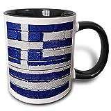 Taza Personalizada, Lujoso Tazas De Cerámica Regalo Taza Desayuno,Bandera Nacional De Grecia Pintada Sobre Una Pared De...
