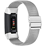 TECOOL Metal Replacement Bands for Fitbit Charge 3/4, Non-Magnet Stainless Steel Replacement Strap Compatible with Charge 3/4 SE for Women Men (Large Size - Silver)