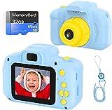 Cámara para Niños Infantil Cámara de Fotos Digital Cámara Juguete para Niños 2 Pulgadas 12MP 1080P HD Selfie Video Cámara Regalos Ideales para Niños Niñas de 3-10 Años con Tarjeta TF 32 GB (azul)