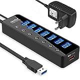 Atolla Hub USB,7 Porte Hub USB 3.0 e 1 Porte di Ricarica Intelligenti,Trasmissione Dati Alta velocità 5 Gbps e Sincronizzazione, con 5V/4A Adattatore Adattatore d'Alimentazione