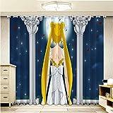 lubenwei Cortinas Opacas - Impresión 3D Anime Sailor Moon - Cortinas con Ojales - Reducción De Ruido De Aislamiento,166(H) x75(An) Cmx2 Paneles/Set (A-2521)