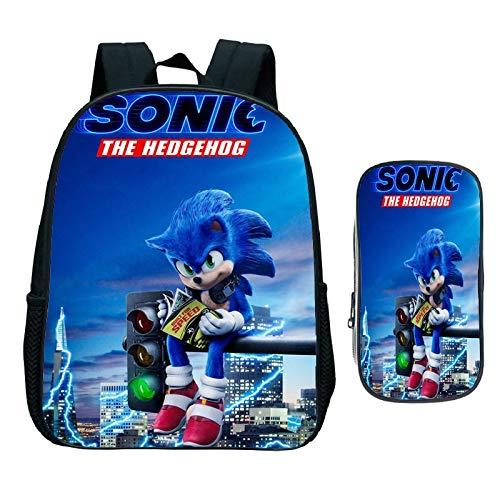 XINFAN Sonic Der Igel Schulrucksack 2Pcs / Set Sonic Rucksack Kinder Coole Cartoon Sonic Rucksack Jungen Mädchen Schultasche Für Kindergarten Täglicher Rucksack Kinder Büchertasche