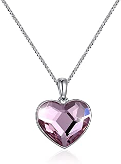 Home Crystal Ornaments European and American Style Sterling Silver 925 Love Heart Pendant Necklace (Color : Pink) Girls Necklace (Color : Pink)