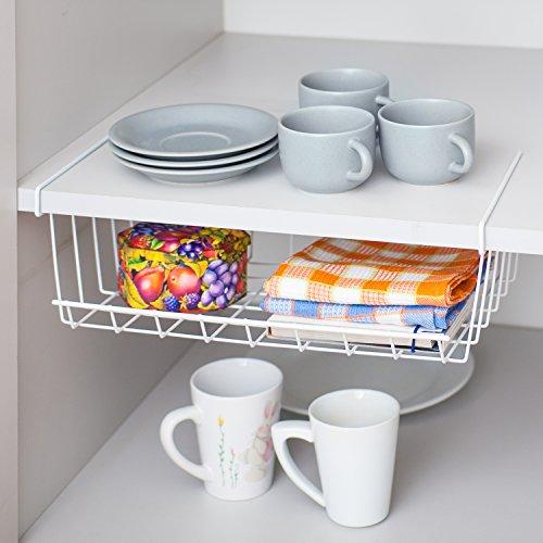art moon Extra | 699621 | Hängeregal Schrank, Einhängekorb Küche | Stahl, Weiß | Platzsparwunder | 40x26.5x14CM