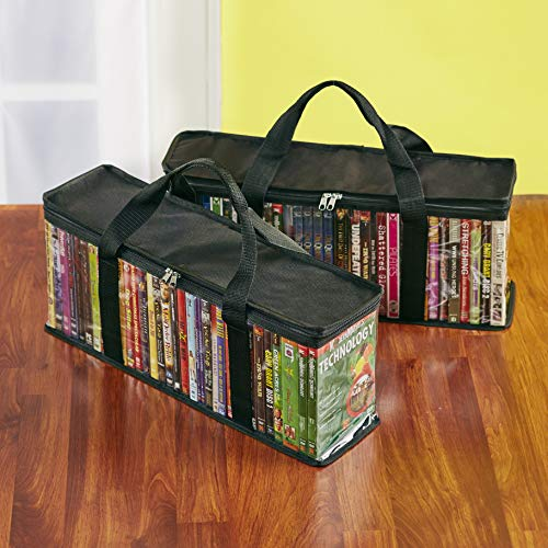 The Lakeside Collection Storage Bags for DVDs, Blu-Ray, VHS, Games with Handle - Set of 2