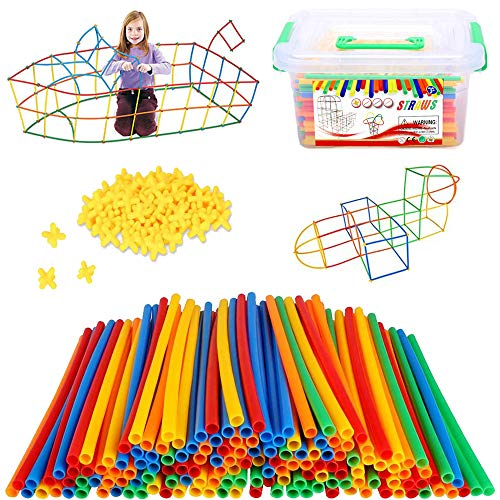 300 Pcs Straw Constructor STEM Building Toys, Construction Toys to Develop Motor Skills, Colorful Interlocking Plastic Enginnering Toys fort Building Kit, Best DIY Educational Toys Boy & Girl