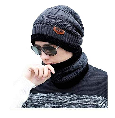 VT VIRTUE TRADERS Ultra Soft Unisex Woolen Beanie Cap Plus Muffler Scarf Set for Men Women Girl Boy - Warm, Snow Proof - 20 Degree Temperature (Dark Grey)