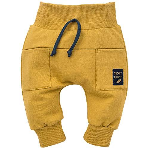 Pinokio - Secret Forest - Baby Kinder Jungen Hose 100% Baumwolle Gelb Pumphose Jogginghose Haremshose Unisex Schlupfhose 62-104 cm (74 cm, Gelb)