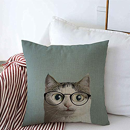 New-WWorld-Shop Kissenbezüge Linse Augenarzt Myopie Kätzchen Brille Feline Close Grind Mode Kissenbezüge