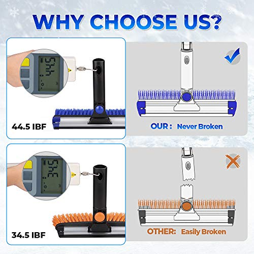 """JOYTUTUS Snow Brush, 5-in-1 Extendable 21""""-47"""" Snow Brush for Car, Durable & Sturdy, No Scratch, 270° Auto Snow Scraper with Brush, Foam Grip, Detachable ABS Ice Scraper for Car, SUV, Truck(Blue)…"""