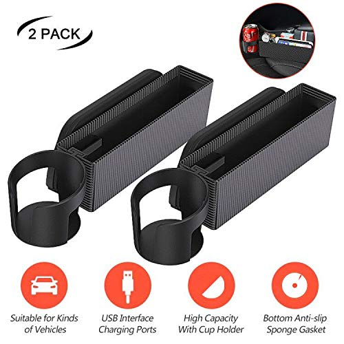NEW RUICHENG Car Storage Box Multifunctional Cup Holder Car Seat Gap Organizer Side Pockets Box Slot Car Gap Filler with USB Charging Central Console Driver Extra Storage 2Pcs for Cellphones, Key