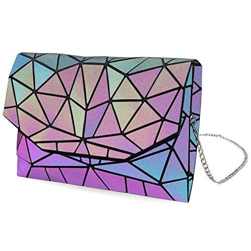 Tikea Geometrischer Messenger Bag Handtasche Fashion Tasche Kette Crossbody Schultertasche Kunstleder Holographische Umhängetasche für Frauen Leuchtend