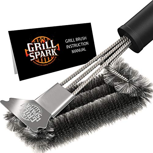 Grill Spark Grill Brush and Scraper 18 Inch | Stainless Steel Wire Bristles Brush | Barbecue Cleaning Brush for Weber Gas/Charcoal Grilling Grates | BBQ Grill Accessories