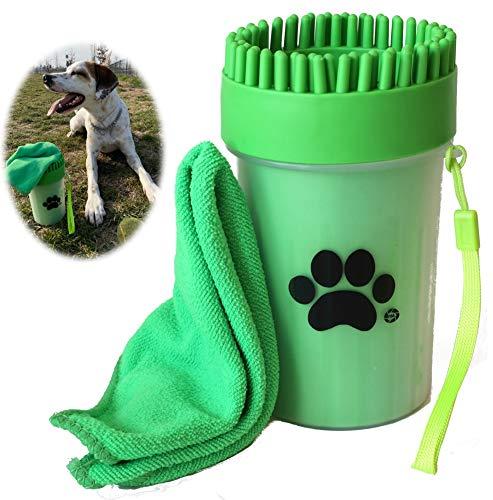 Pulitore Zampe per Cani con salvietta in Regalo | Pulisci, Spazzola e Lava Zampe Portatile in Silicone | Colore Verde | Taglia M