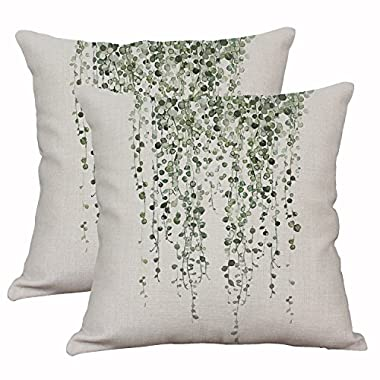 Set Of 2 Green Plant Throw Pillow Covers Decorative Cotton Linen Cushion Cover Outdoor Sofa Home Pillow Covers 18x18 Inch