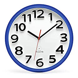 DreamSky 13 Inches Large Wall Clock, Non-Ticking Silent Quartz Decorative Clocks, Battery Operated, Blue Round Retro Indoor Kitchen Bedroom Living Room Wall Clocks, Big 3D Number Display.