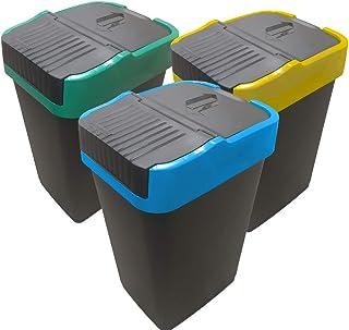Poubelle de Tri sélectif   Bac pour le Recyclage de Plastique, Papier et Verre   EUROXANTY Articles de Ménage   35 L