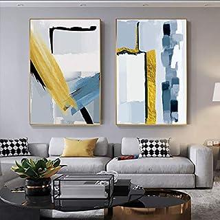 WGEYI Tableau mural abstrait jaune doré et bleu - Impression artistique sur toile pour salon - 50 x 70 cm - Sans cadre