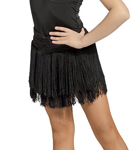 SCGGINTTANZ GD2002 Mädchen Latin Latein Gesellschaftstanz Der Ball Tanz Professionell Plissierte Oberfläche und Doppelquaste schwankendes Design Röcke Für Kind (140, (FBA) Black)