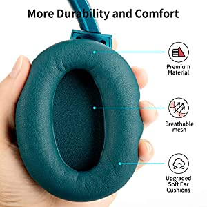 COWIN SE7 Active Noise Cancelling Headphones Bluetooth Headphones Wireless Headphones Over Ear with Microphone/Aptx, Comfortable Protein Earpads, 30 Hours Playtime for Travel/Work, Teal