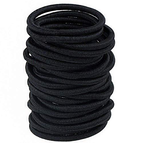 ZOEON 100 Stück Schwarz Haargummis, Elastisch Pferdeschwanz Halter Stirnband