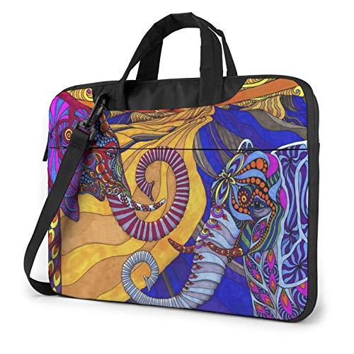 Elephant Printed Laptop Shoulder Bag,Laptop Case Handbag Business Messenger Bag Briefcase
